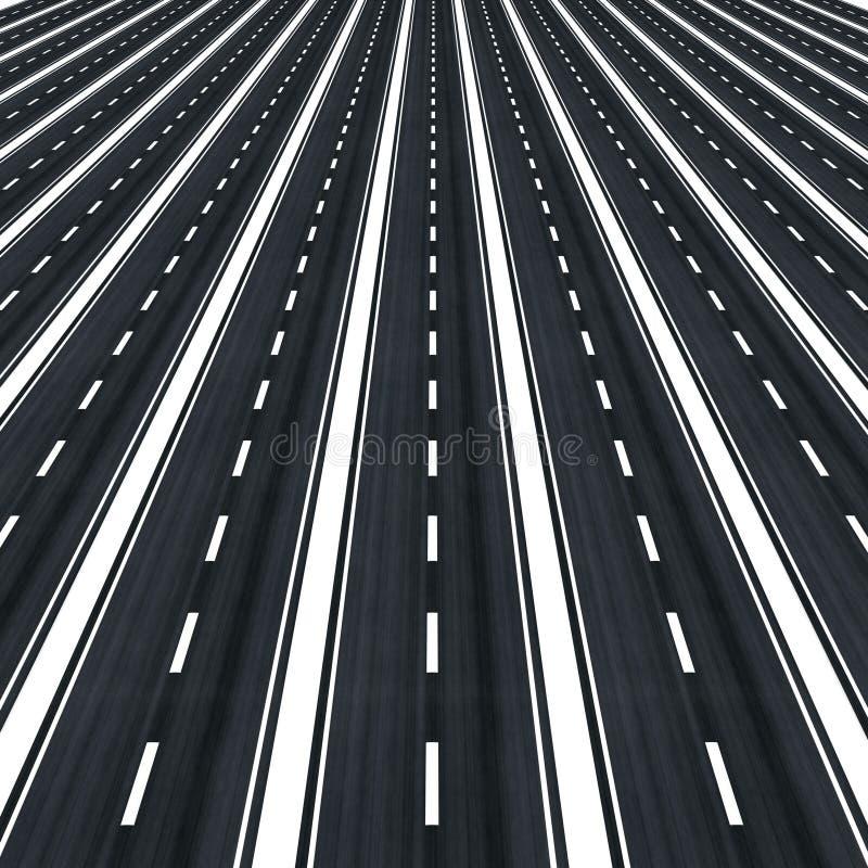 Muchos caminos paralelos hacia infinito ilustración del vector