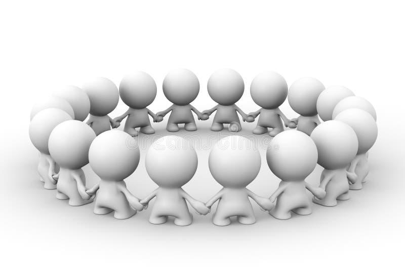 Muchos caracteres humanos blancos 3d que se colocan en un círculo que se hace frente ilustración del vector