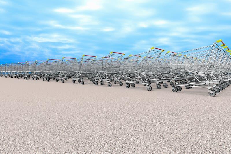 Muchos carros del ultramarinos que representan el concepto de compras ilustración del vector