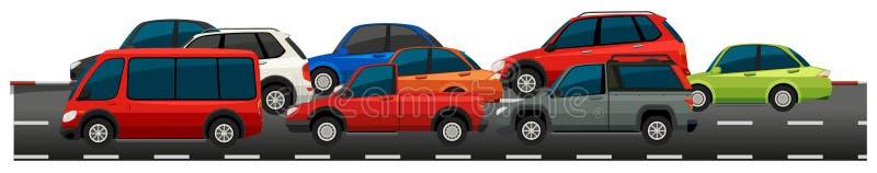 Muchos coches en el camino stock de ilustración
