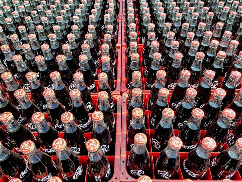 Muchos coquizan o la botella de la Coca-Cola en los cajones plásticos para entregado a los clientes imagenes de archivo