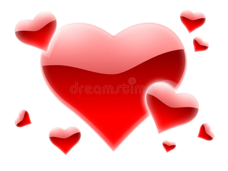Muchos corazones rojos ilustración del vector