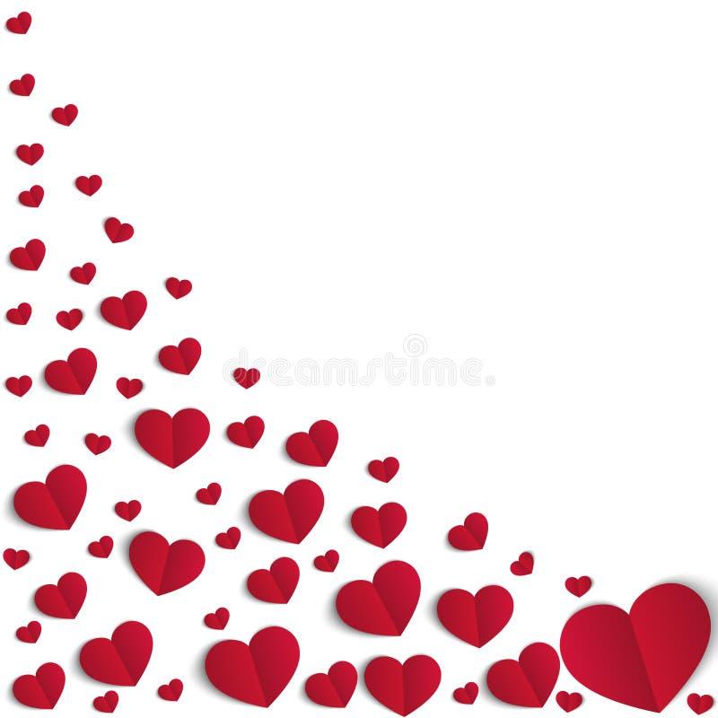 Muchos corazones rojos del papper en el fondo blanco Símbolo del amor Elemento del diseño para el día de la tarjeta del día de Sa stock de ilustración