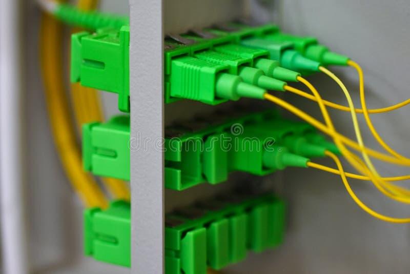 Muchos cordones de remiendo ópticos en el gabinete de las telecomunicaciones foto de archivo