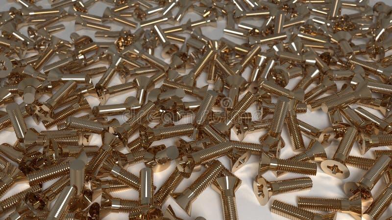 Muchos csrews del metal del oro Ð-Ð 'ики del ½ Ñ del ² иРde е Ð del ‹del 'Ñ del ¾ Ñ de Ð del ¾ Д fotografía de archivo