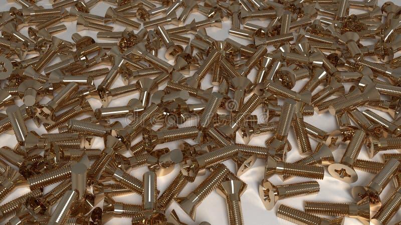 Muchos csrews del metal del oro imagen de archivo