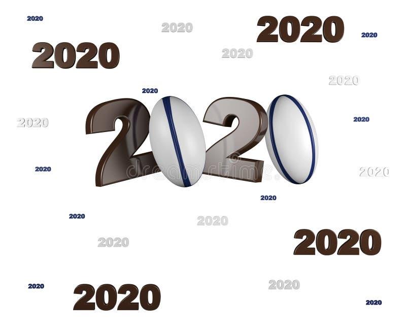 Muchos diseños de la bola de rugbi 2020 ilustración del vector