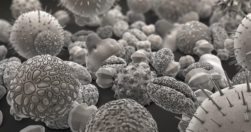 Muchos diversos cuerpos del polen en blanco y negro libre illustration
