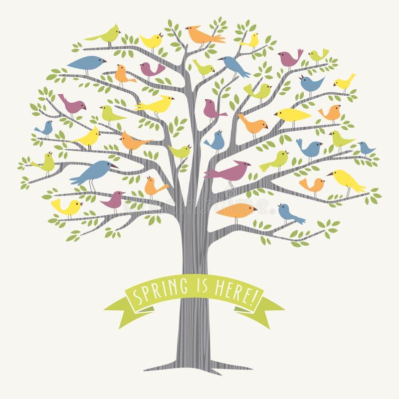 Muchos diversos pájaros en un árbol en la primavera stock de ilustración