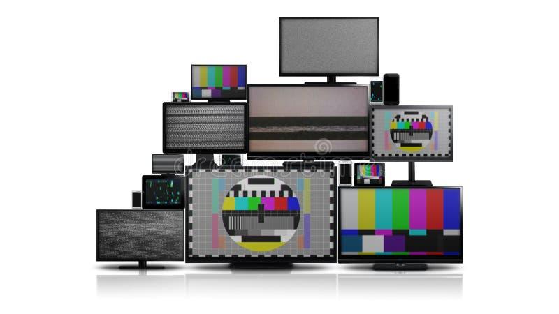 Muchos diversos tipos de pantallas sin señal imagen de archivo libre de regalías