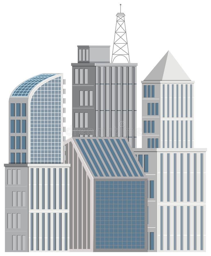 Muchos edificios altos en el fondo blanco stock de ilustración