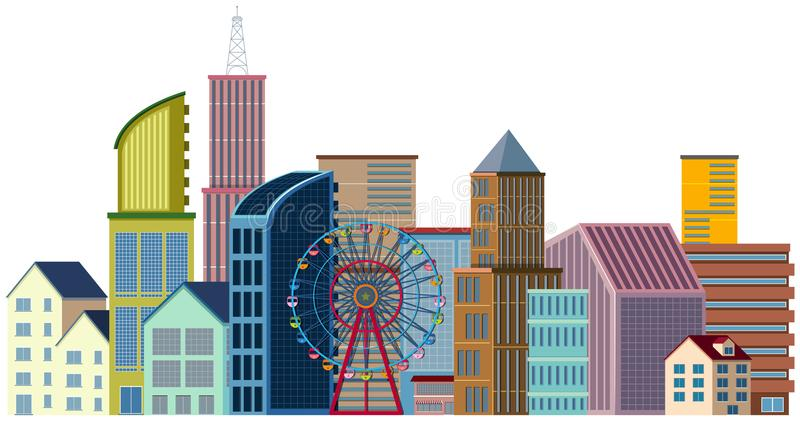 Muchos edificios y noria libre illustration