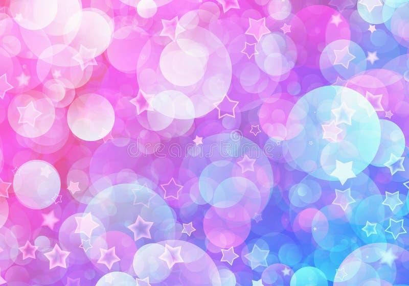 Muchos estrellas y fondos soñadores de las burbujas que vuelan ilustración del vector