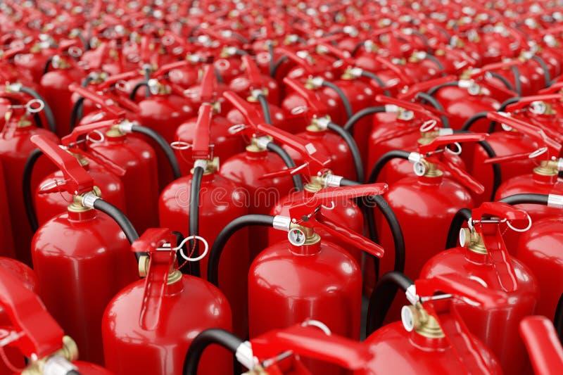 Muchos extintores Concepto de protección y de seguridad fotografía de archivo libre de regalías