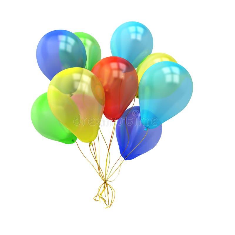 Muchos globos coloridos sobre el fondo blanco libre illustration
