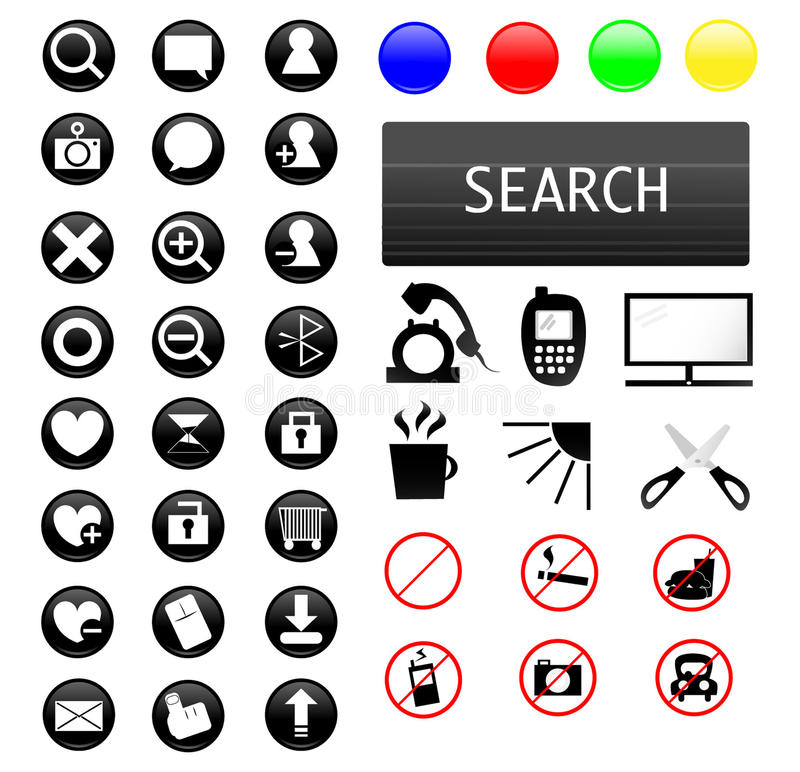 Muchos iconos del Web stock de ilustración