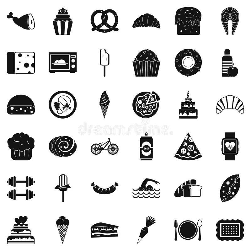 Muchos iconos fijados, estilo simple de las calorías ilustración del vector