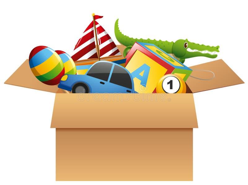 Muchos juguetes en caja marrón ilustración del vector