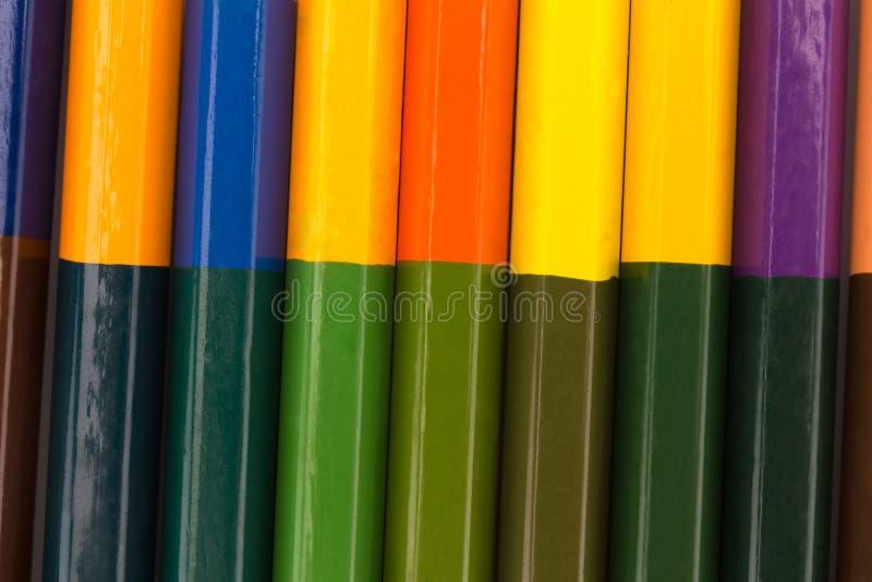 Muchos lápices en color del arco iris creyones Textura Fondo fotografía de archivo