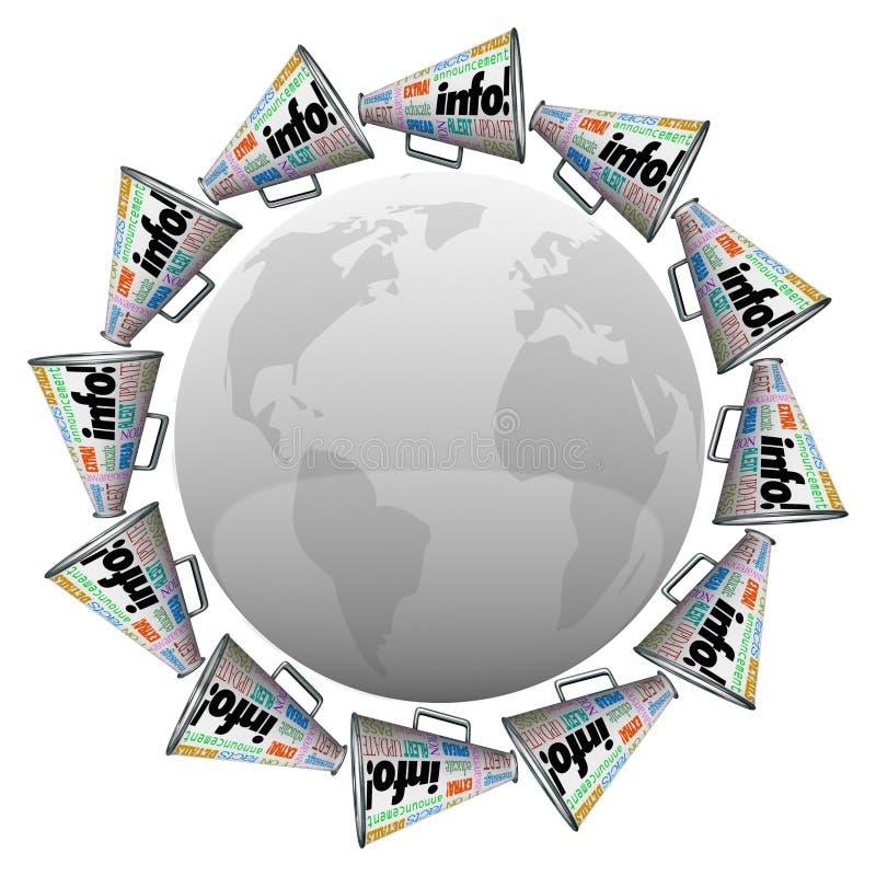 Muchos megáfonos de los megáfonos alrededor de la comunicación global de la información del mundo ilustración del vector