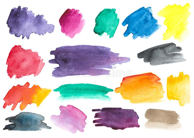 Muchos movimientos del cepillo de la acuarela conjunto gradientes stock de ilustración