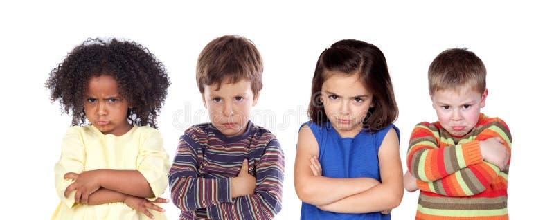 Muchos niños enojados imagen de archivo libre de regalías