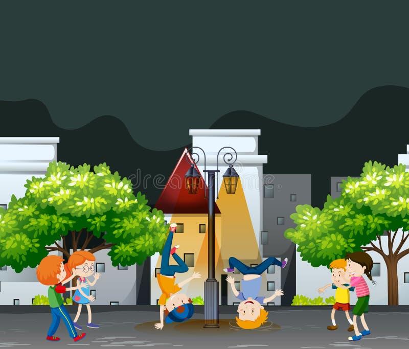 Muchos niños que bailan en el parque de vecindad stock de ilustración