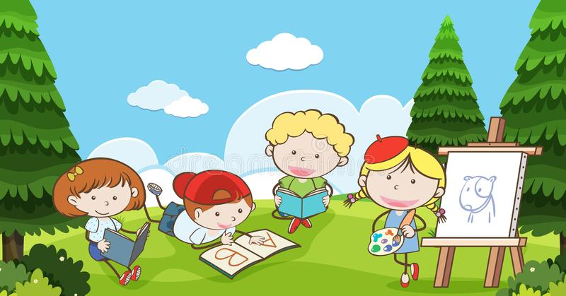 Muchos niños que leen y que dibujan en parque stock de ilustración