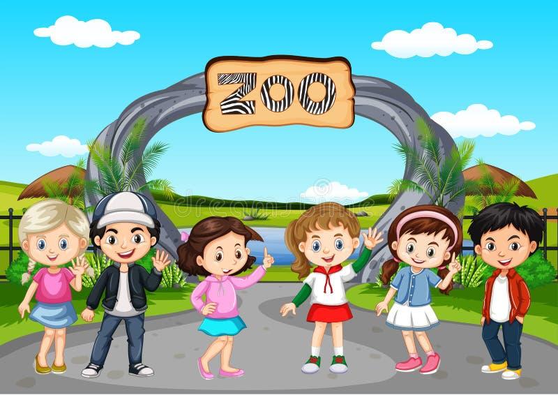 Muchos niños que visitan el parque zoológico stock de ilustración