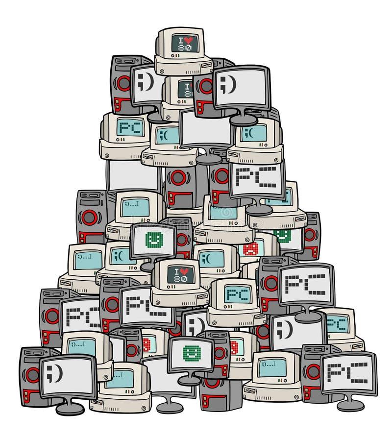 Muchos ordenadores stock de ilustración