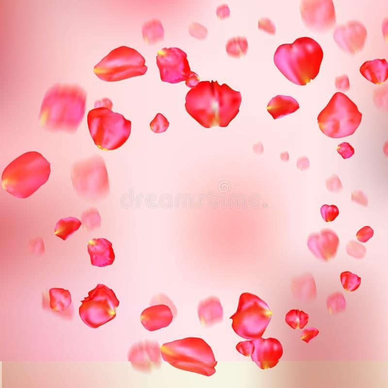 Muchos pétalos color de rosa rojos que caen en fondo rosado stock de ilustración