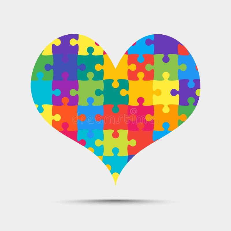 Muchos pedazos del color desconciertan el rompecabezas del corazón libre illustration
