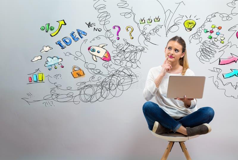 Muchos pensamientos con la mujer joven usando su ordenador portátil fotografía de archivo libre de regalías