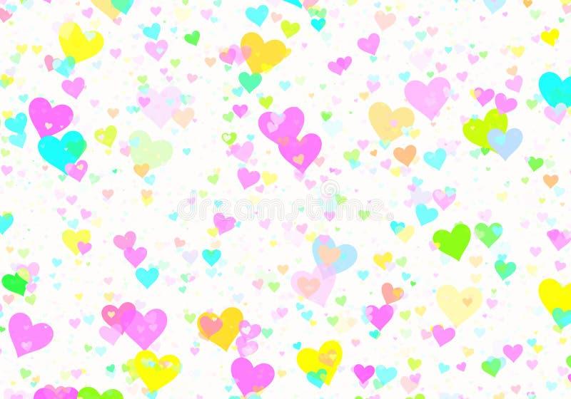Muchos pequeños corazones multicolores en los fondos blancos stock de ilustración