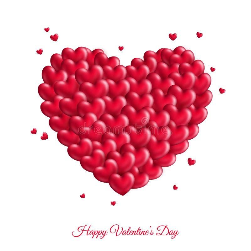Muchos pequeños corazones rojos para el día del ` s de la tarjeta del día de San Valentín stock de ilustración