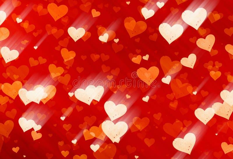 Muchos pequeños fondos rojos pintados de los corazones del punto ilustración del vector