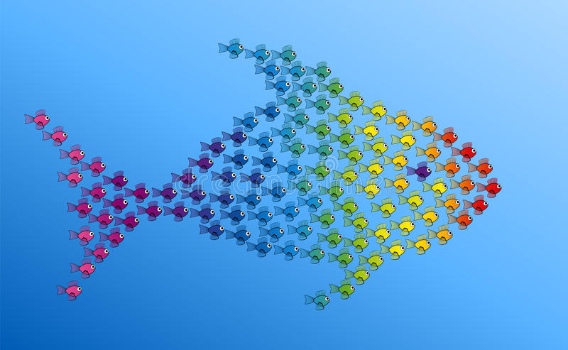 Muchos pequeños pescados que forman trabajo en equipo grande de los pescados ilustración del vector