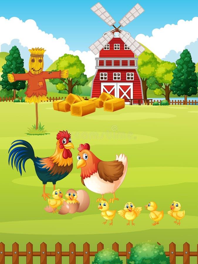 Muchos pollos en la granja stock de ilustración