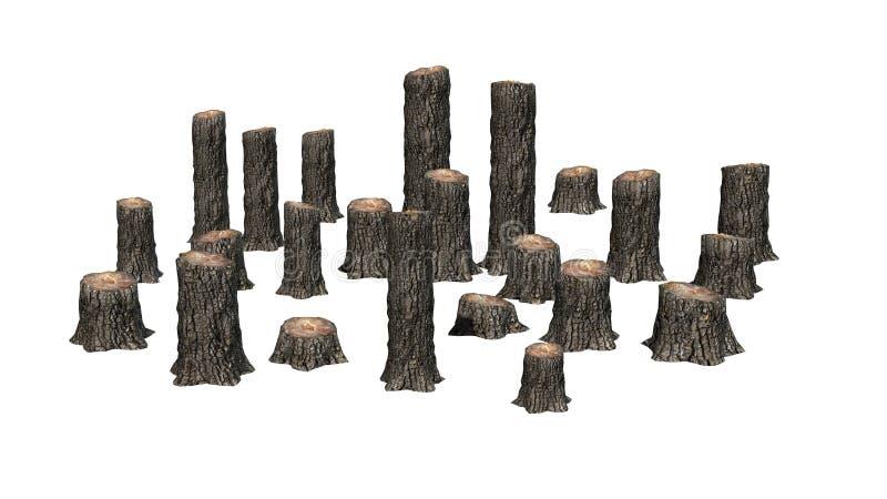 Muchos varios tocones de árbol ilustración del vector