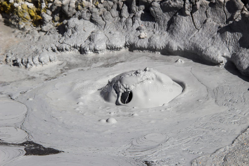 Mud blob. A very high temperature mud ground, that produces blobs stock photography