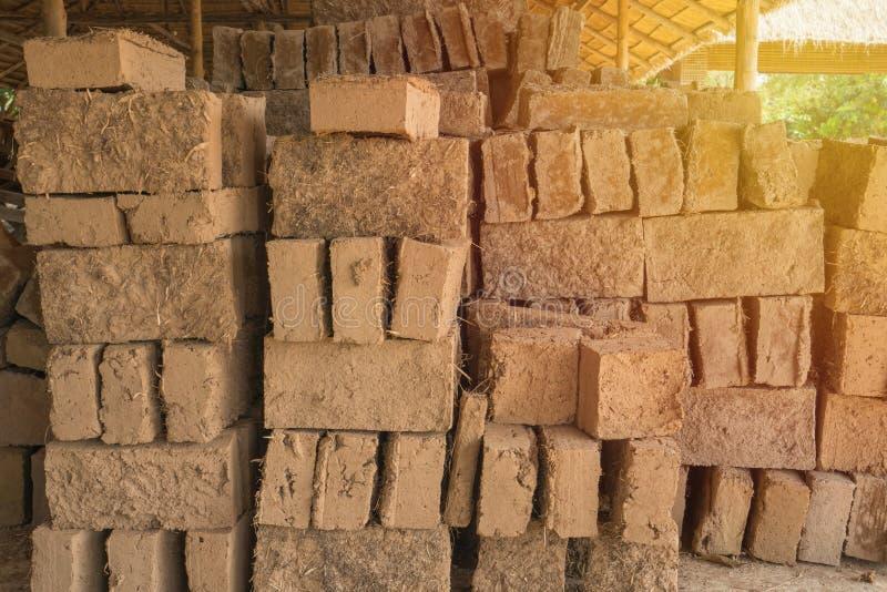 Mud bricks or clay bricks for building clay house.  stock photos