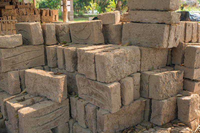 Mud bricks or clay bricks for building clay house.  royalty free stock image