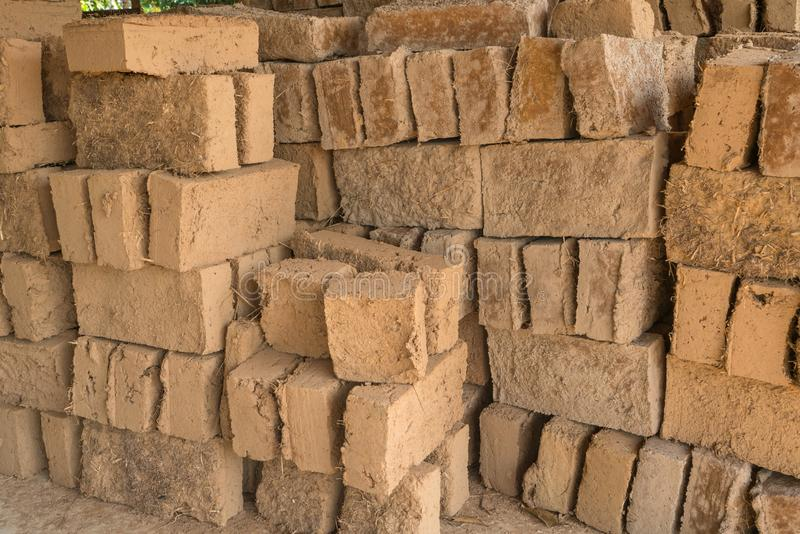 Mud bricks or clay bricks for building clay house.  stock images