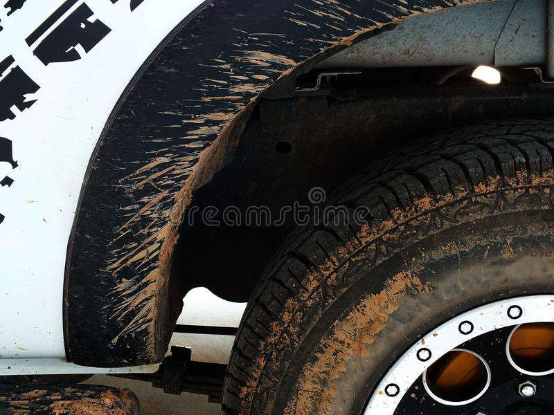 Mud cars due to rainy season driving Should be cleaned and polishedThe car was hit by an accident because of abrasions or collapsi. The car that bumped in the stock photo