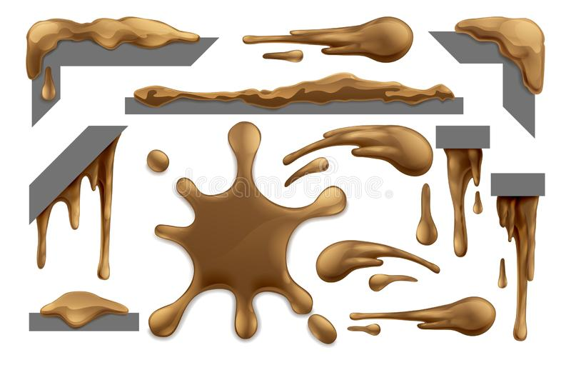 Mud or Chocolate Messy Blobs Splats and Drips vector illustration