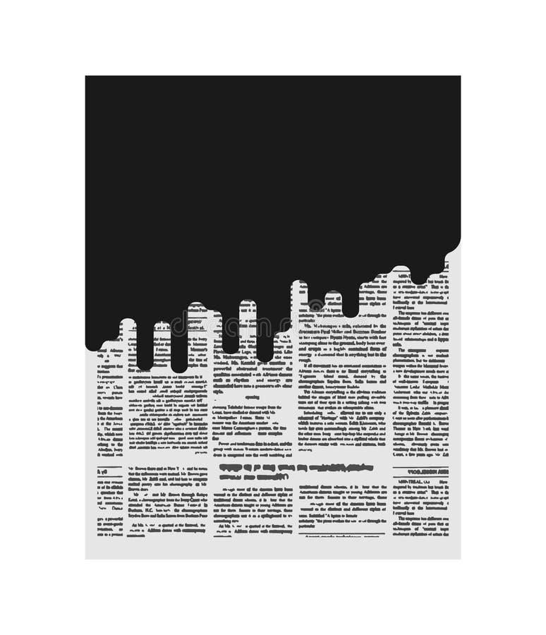 Mud in newspaper. Bad news. Black page of paper. Slander stock illustration