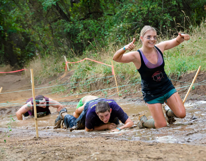 Mud run race stock photography