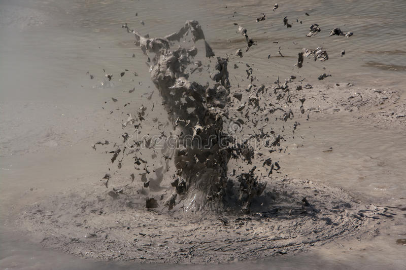 Mud volcano. Exploding mud volcano in Waiotapu volcanic area, New Zealand royalty free stock photography