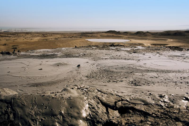 Mud volcanoes of Gobustan, Azerbaijan. Mud volcanoes of Gobustan close to Baku, Azerbaijan royalty free stock photo