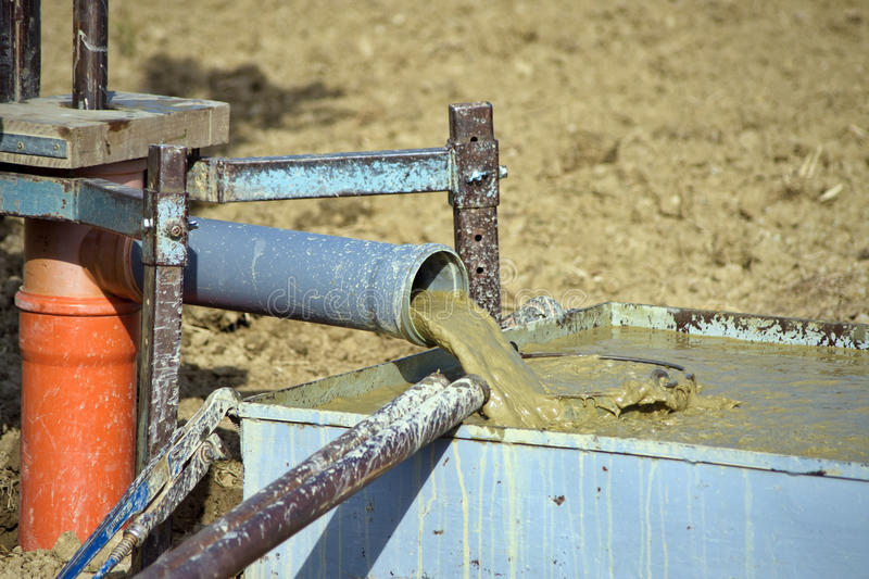 Mud waste from water bore drilling royalty free stock photography